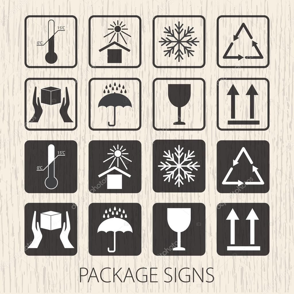 Vector packaging symbols on vector wooden background icon set vector packaging symbols on vector wooden background icon set including fragile this side up handle with care keep dry and other caution handling buycottarizona