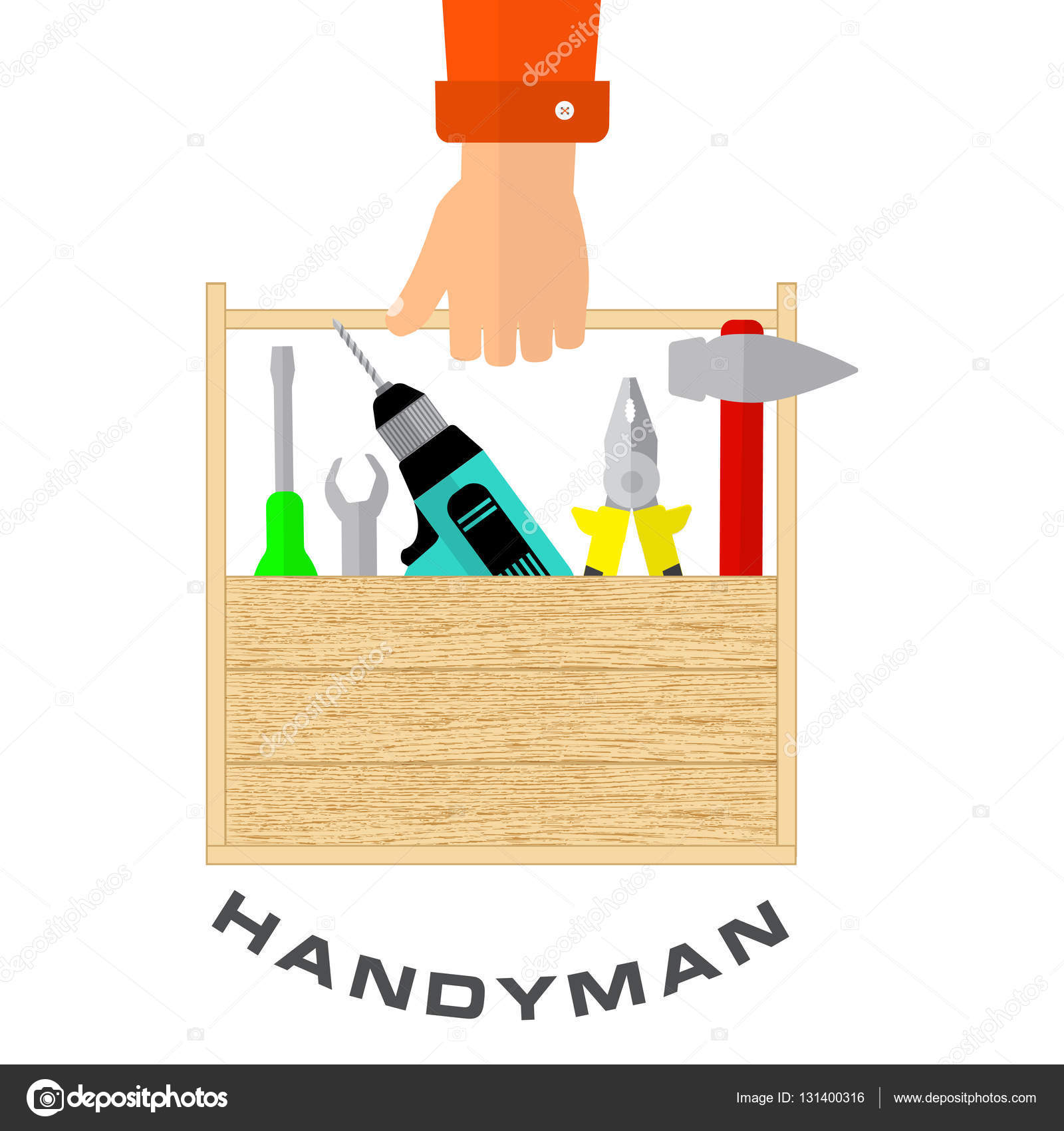 Home remodeling logo remodeling logo clipart - Box Of Tools In Hand Of Handyman House Remodel Tools Logo Home Repair Service Flat Style Tools For Building Remodel And Repair Vector By Karinanh