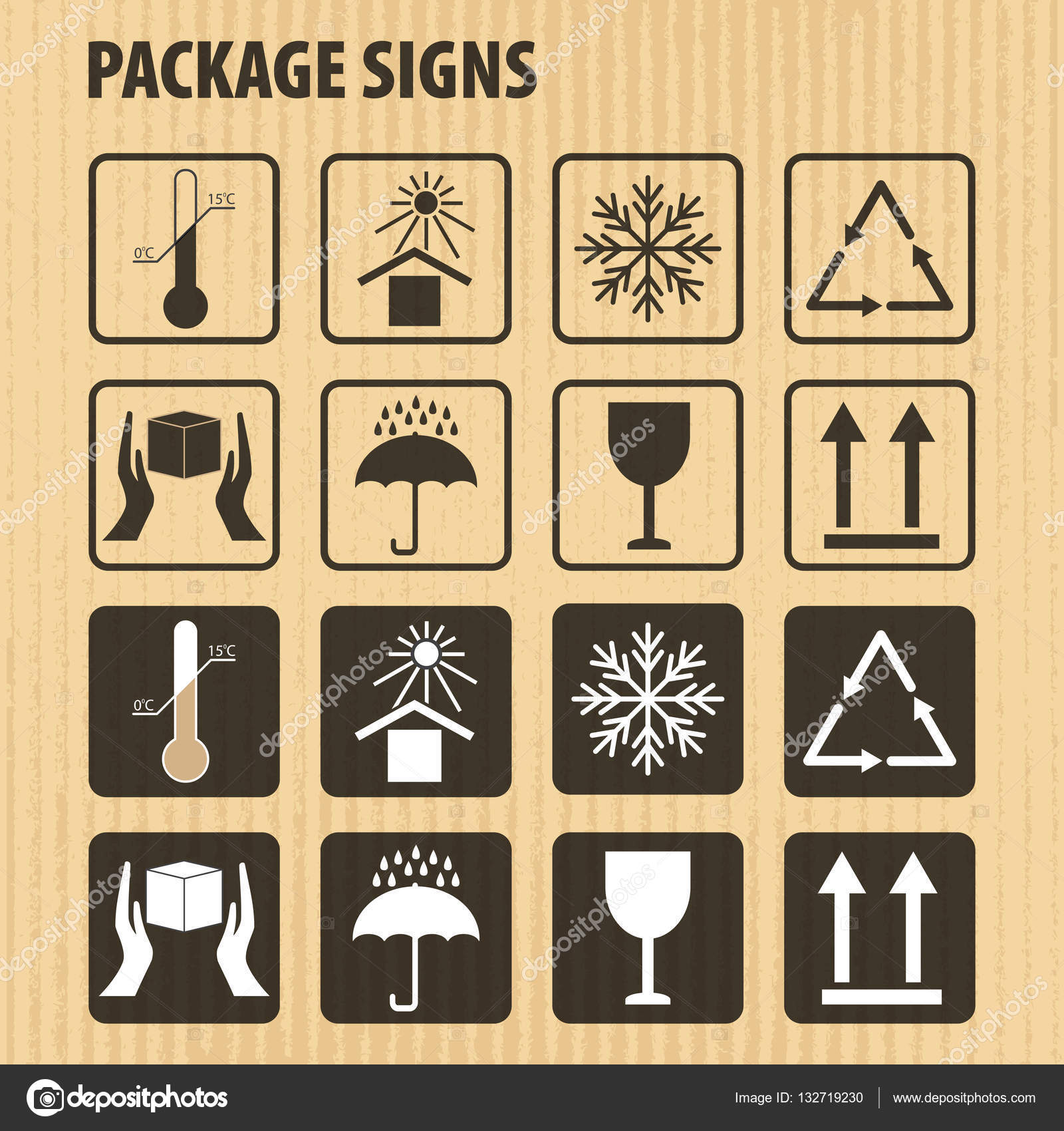 Vector packaging symbols on vector cardboard background icon set vector packaging symbols on vector cardboard background icon set including fragile this side up handle with care keep dry and other caution handling buycottarizona