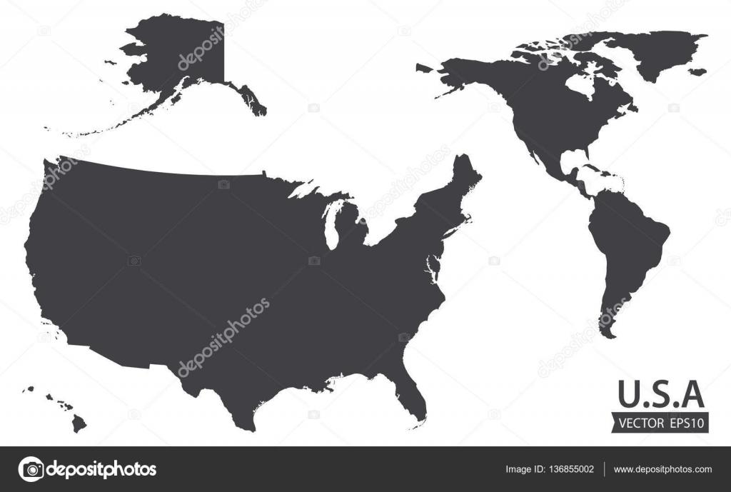 Karte von dem amerikanischen Kontinent und in den Usa ...
