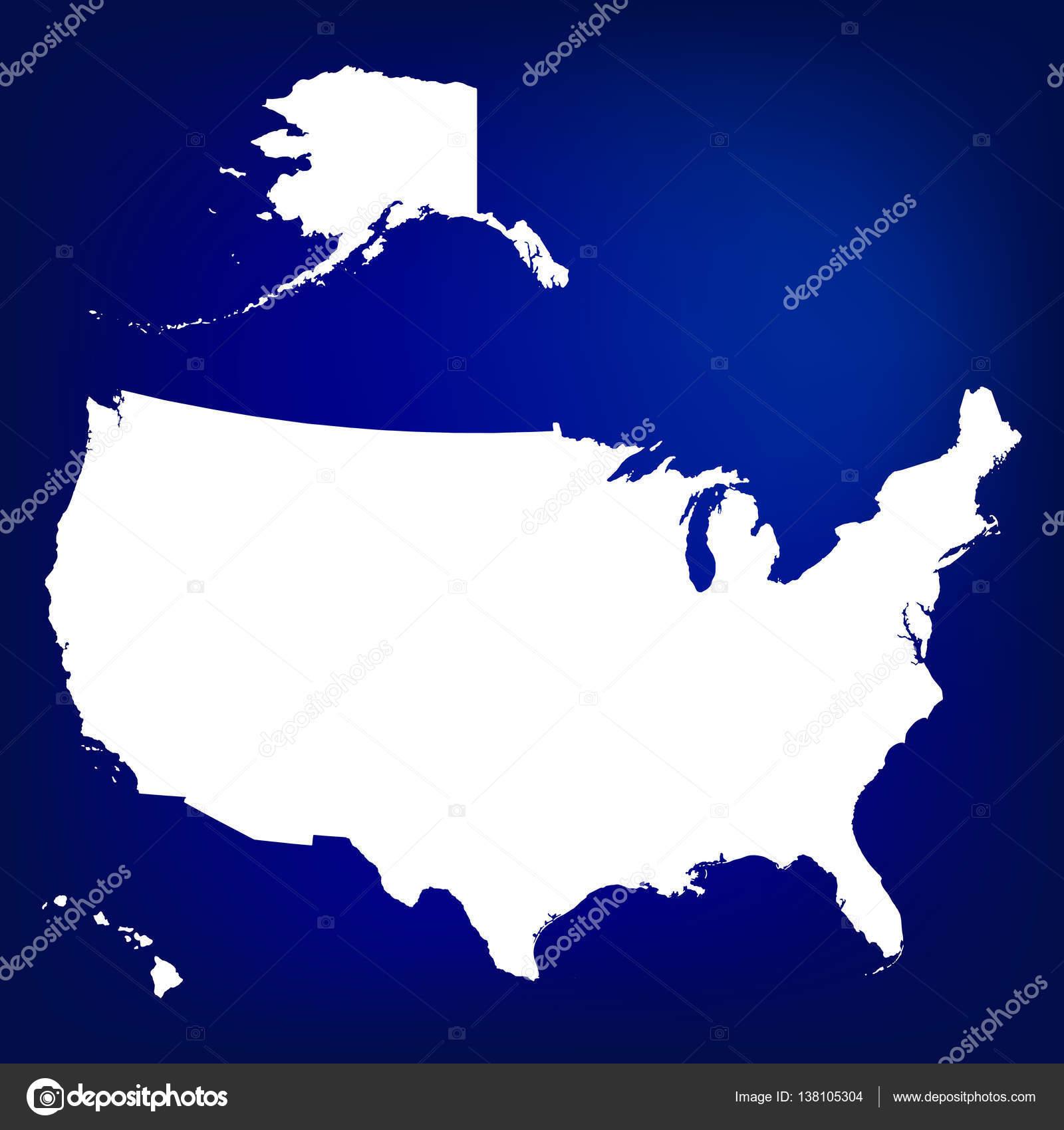 Map of USA including Alaska and Hawaii. Blank similar USA map ...