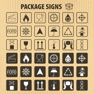 Vector packaging symbols on vector cardboard background. Shipping icon set including recycling, fragile, the shelf life of the product, flammable, non-toxic material, this side up, other symbols. Use on package, carton box