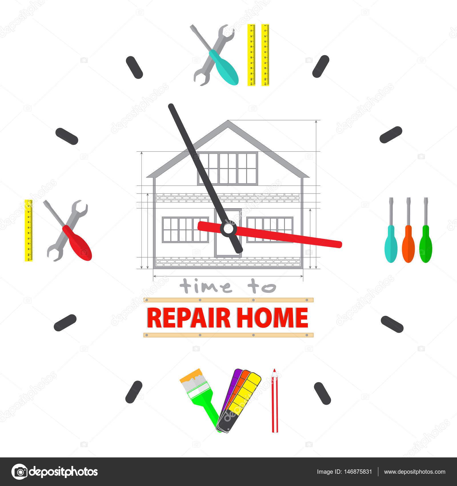 f68641e105e907 Tijd om te herstellen van huis concept. Horloge wijzerplaat zit een  gereedschap voor de reparatie