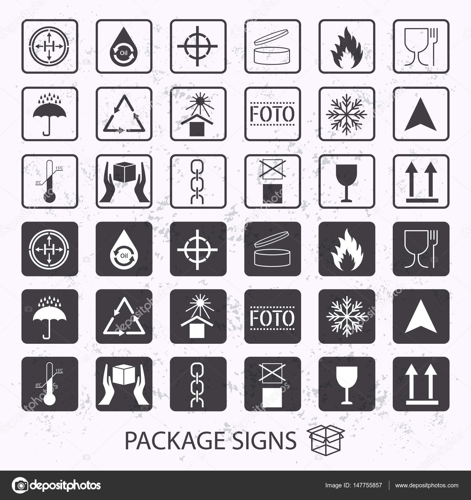 Vector packaging symbols on vector grunge background shipping icon vector packaging symbols on vector grunge background shipping icon set including recycling fragile buycottarizona Images