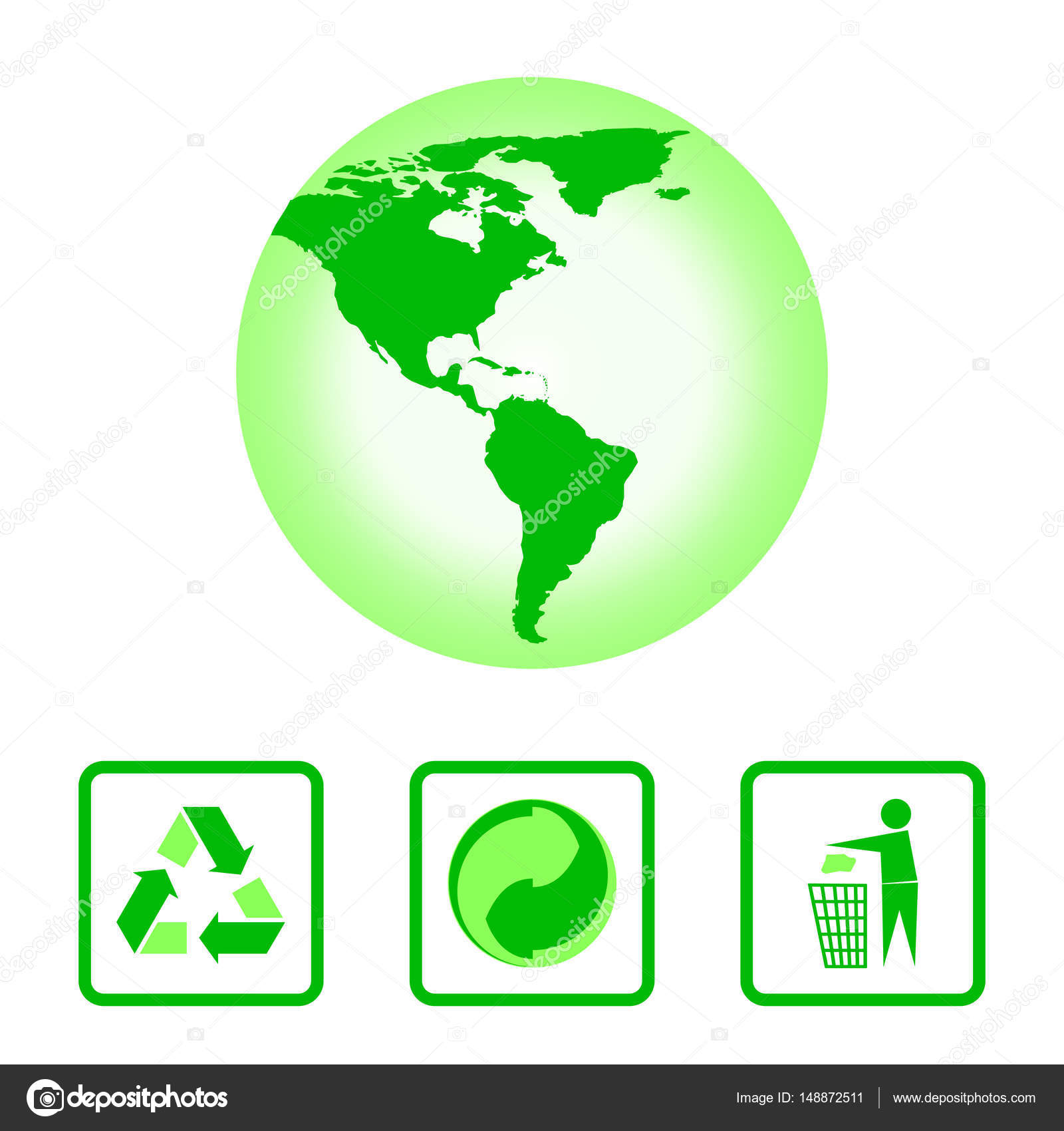The International Recycling Symbols And The Map Of The Western