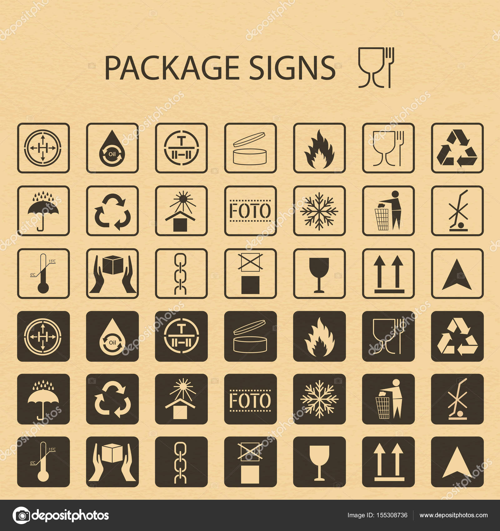 Vector packaging symbols on vector cardboard background shipping vector packaging symbols on vector cardboard background shipping icon set including recycling fragile the shelf life of the product flammable buycottarizona Images