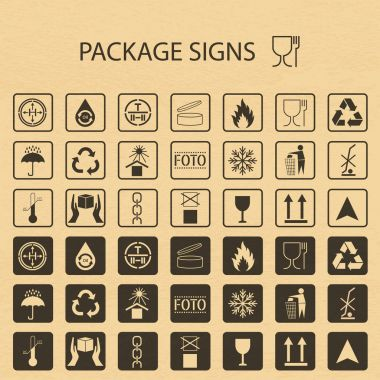Vector packaging symbols on vector cardboard background. Shipping icon set including recycling, fragile, the shelf life of the product, flammable, non-toxic material, this side up, other symbols. Use on package. Stock vector. Flat design.