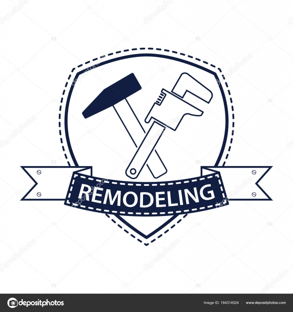 Professional House Remodeling Logo Silhouette Of Tools For