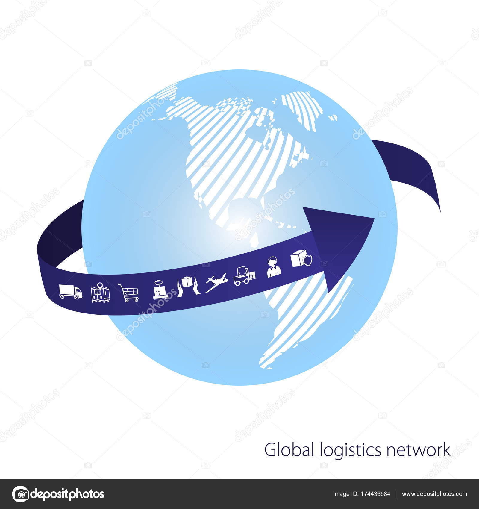 Global logistics network the blue arrow goes around the globe the blue arrow goes around the globe white similar world map set icons transport and logistics flat design vector illustration eps10 gumiabroncs Images
