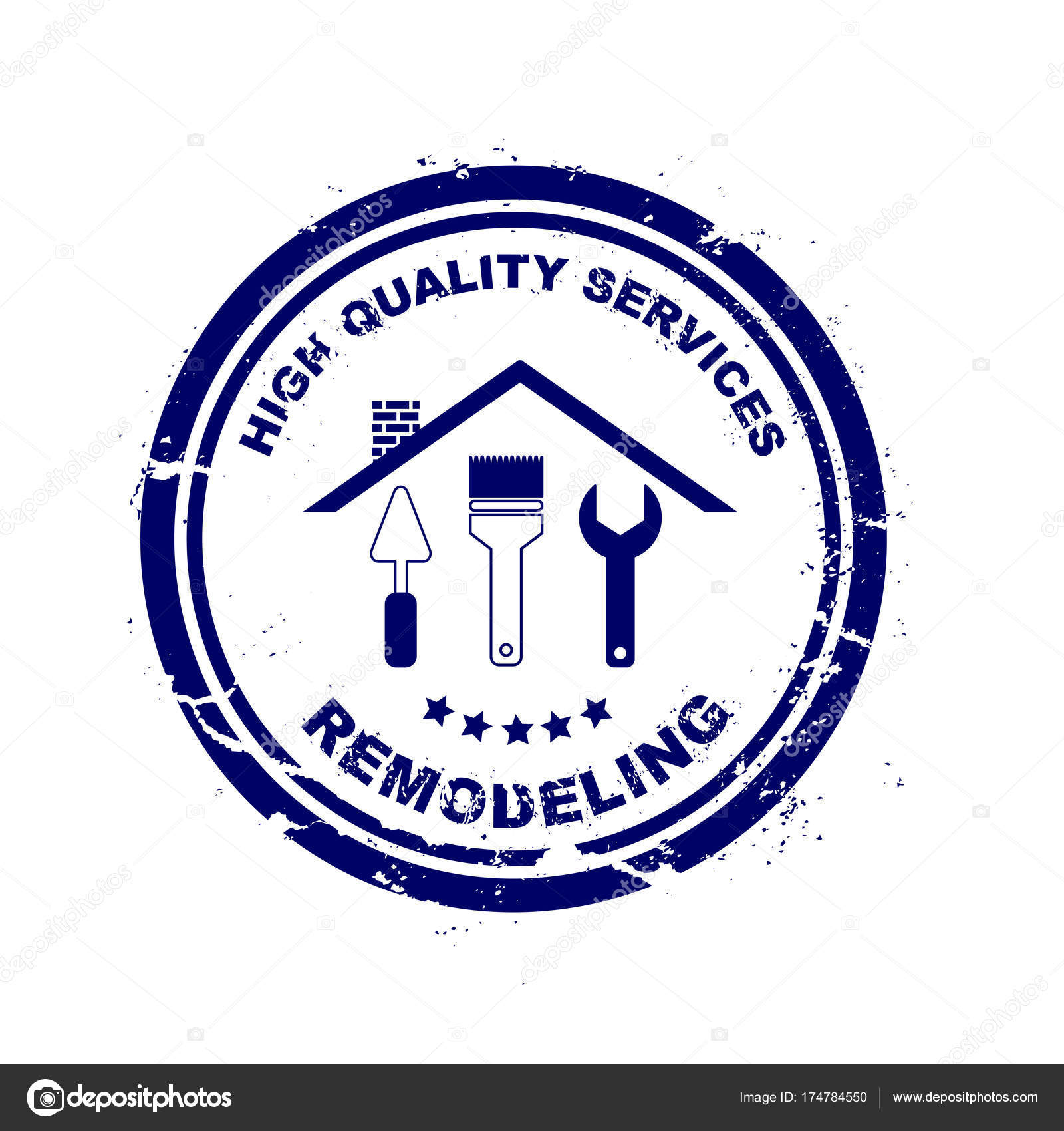 Professional Home Remodeling Stamp With Dry Rough Edges Silhouette Of A House