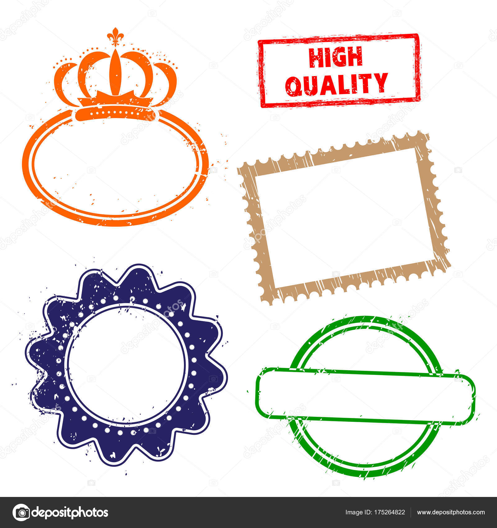 Stamps frames on white background. Five stamps frames with dry rough ...