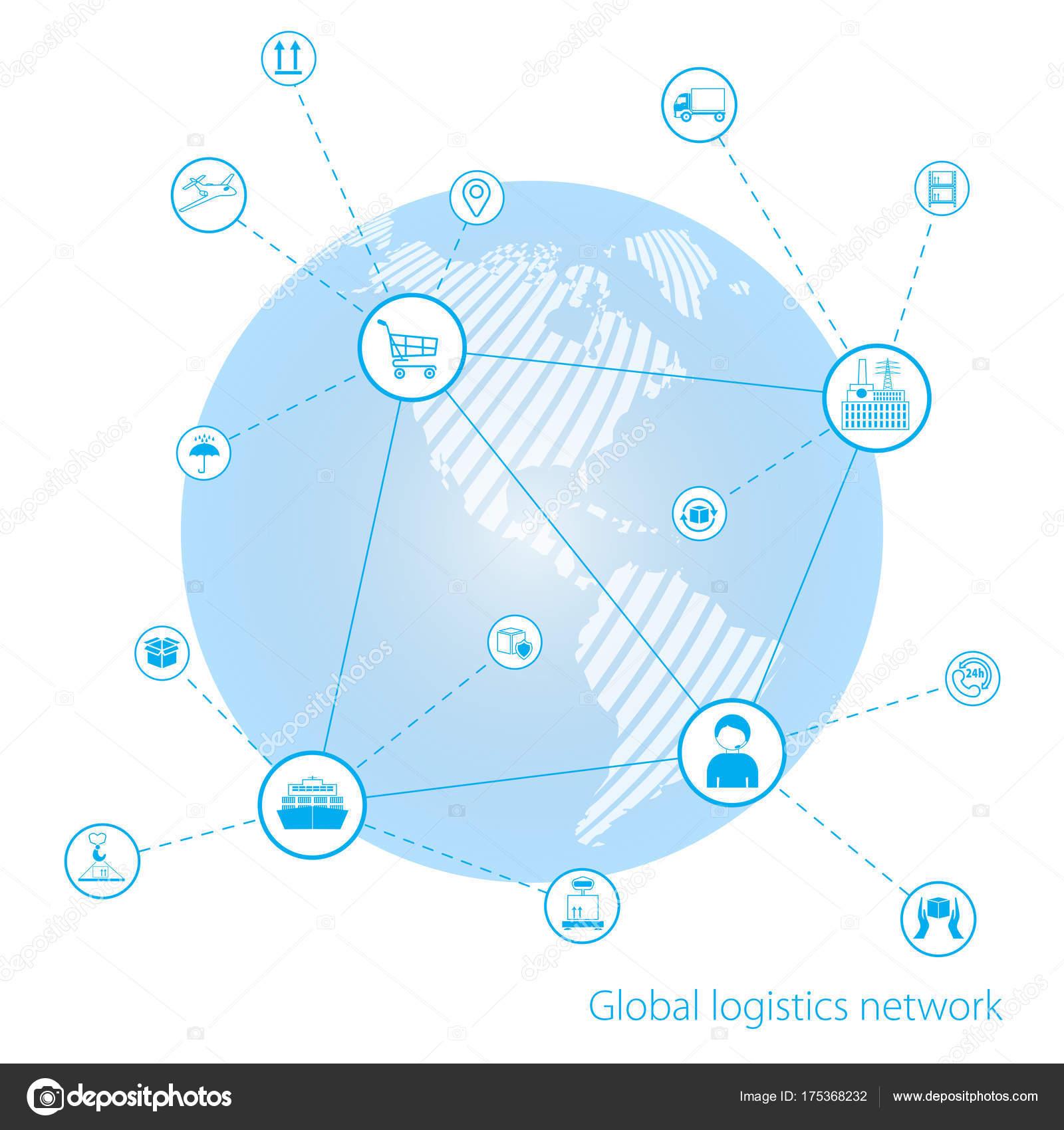 Réseau logistique mondial. Global business technologie interface partenaire  mondial connexion. Carte blanche du monde semblable. Design plat. 862d3b2190be