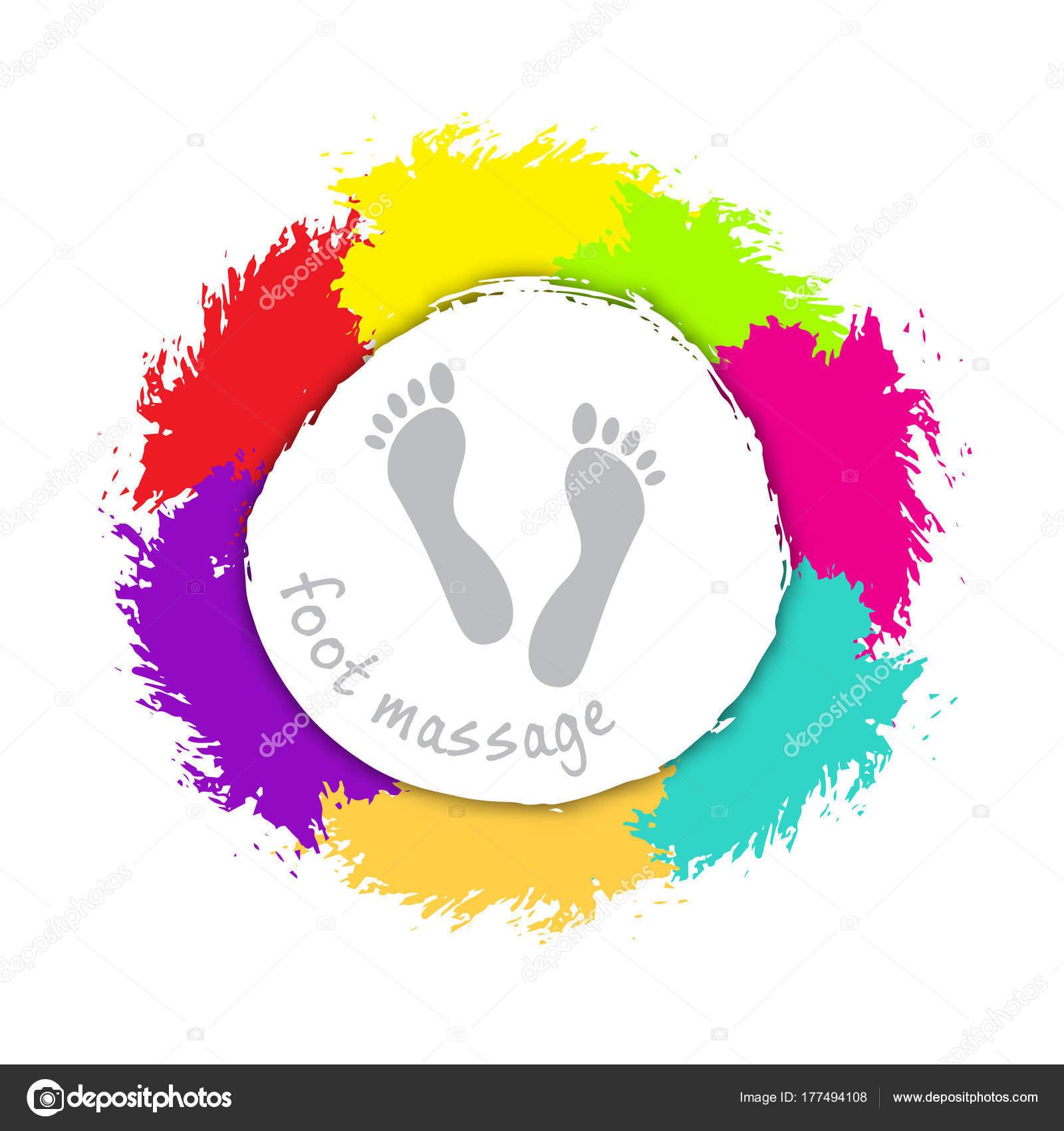 Ayak Masaj Logosunu Görmeniz Gerekir Arka Plan üzerinde Renkli El