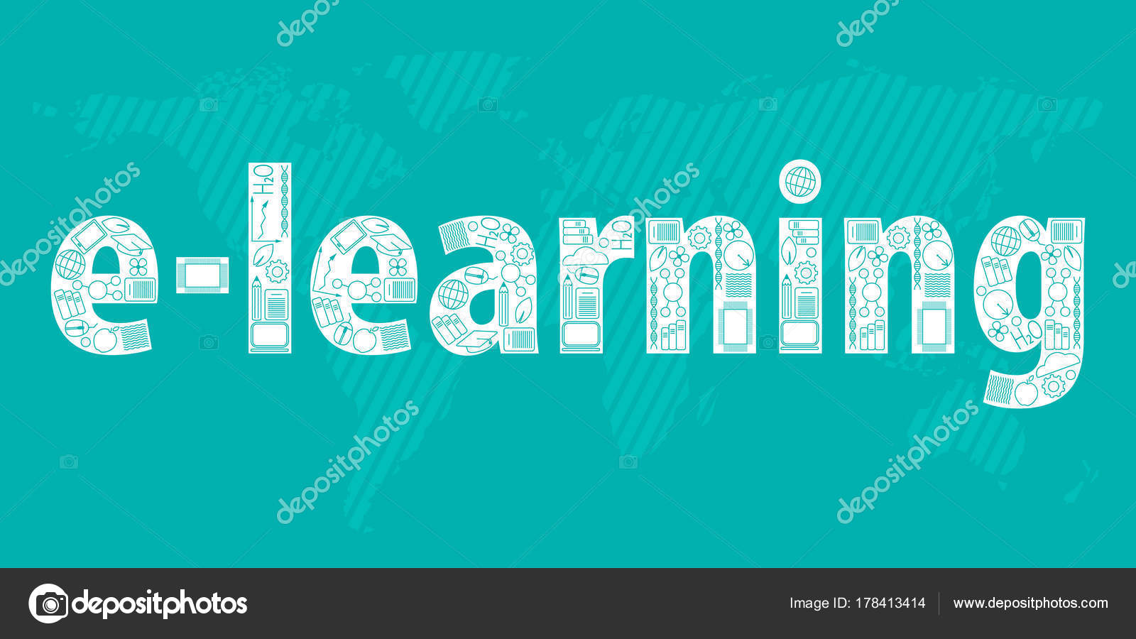 Concept Of Remote Learning E Learning Built From Online Education Icons On Light Blue Map Of The World Background Stock Vector C Karinanh 178413414