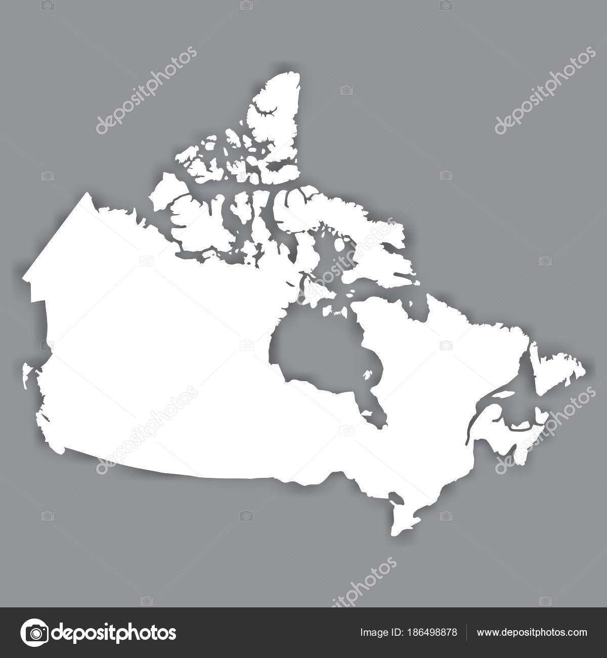Blank Map Canada Blank White Similar Canada Map Isolated ...