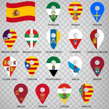 Seventeen flags of the Autonomous Community of Spain - alphabetical order with name.  Set of 2d geolocation signs like flags lands of Spain. Seventeen geolocation signs for your design, logo. EPS10.