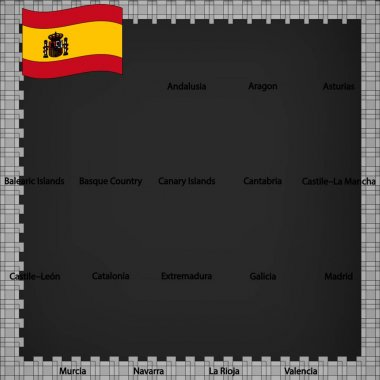 Seventeen flags of the Autonomous Community of Spain - alphabetical order with name.  Set of 3d geolocation signs like flags lands of Spain. Seventeen 3d geolocation signs for your design, logo. EPS10.