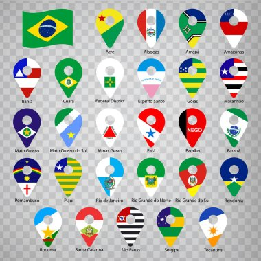 Twenty seven flags states of Brazil  - alphabetical order with name.  Set of 2d geolocation signs like flags states of Brazil.  Twenty seven geolocation signs for your design, logo. EPS10.