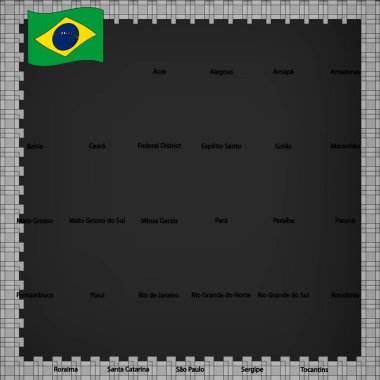 Twenty seven flags states of Brazil  - alphabetical order with name.  Set of 3d geolocation signs like flags states of Brazil.  Twenty seven 3D geolocation signs for your design, logo. EPS10.