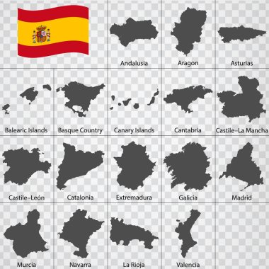Seventeen Maps Autonomous communities of Spain - alphabetical order with name. Every single map of state are listed and isolated with wordings and titles. The Kingdom of Spain. Regions. EPS10.