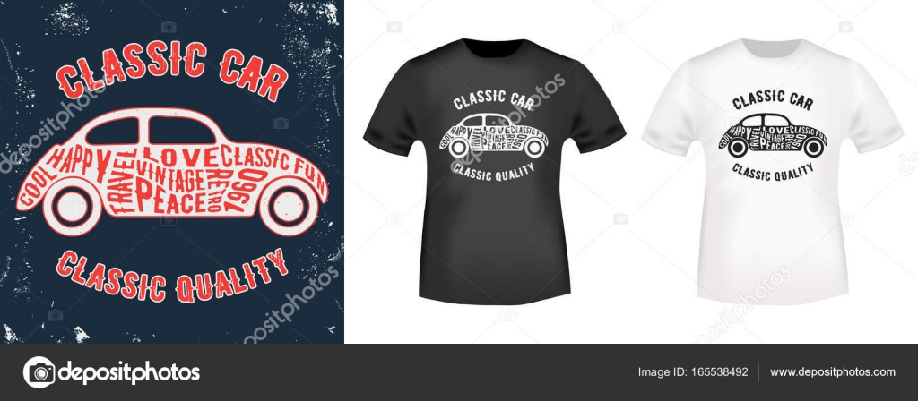 b2f5068b T-shirt print design. Vintage stamp and t shirt mockup. Printing and badge  applique label t-shirts, jeans, casual wear. Vector illustration.