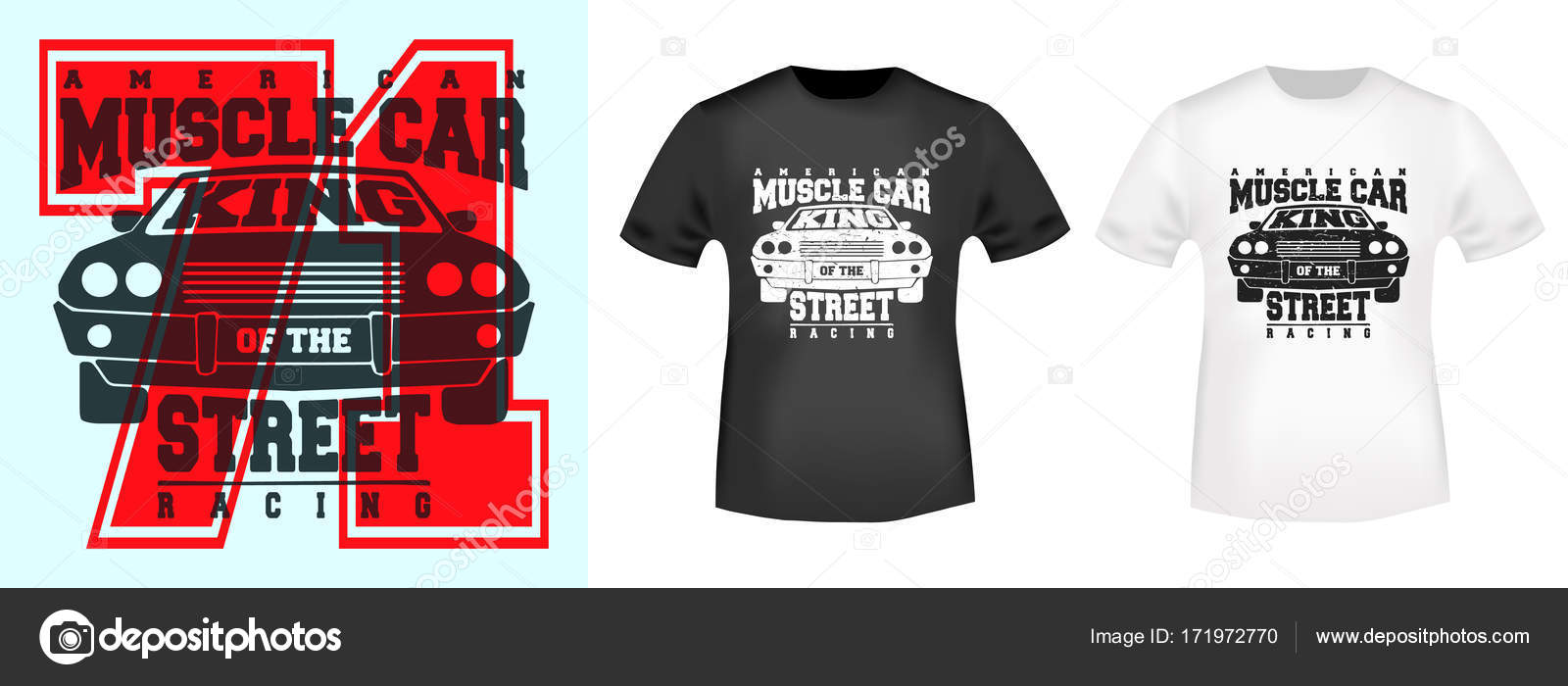 bc1cc694 T-shirt print design. American muscle car vintage stamp and t shirt mockup.  Printing and badge applique label t-shirts, jeans, casual wear.