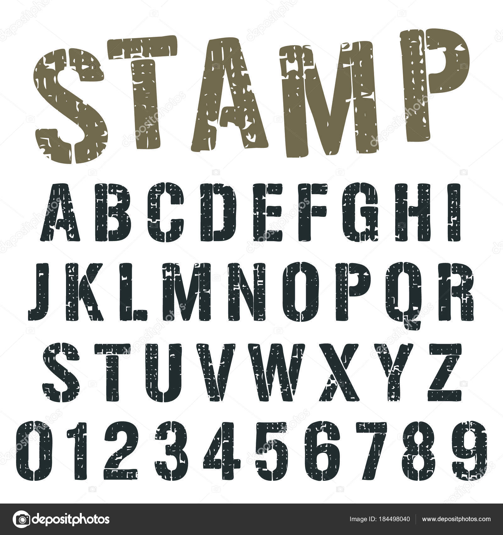 Alphabet Stempel Armee Schriftdesign Stockillustration
