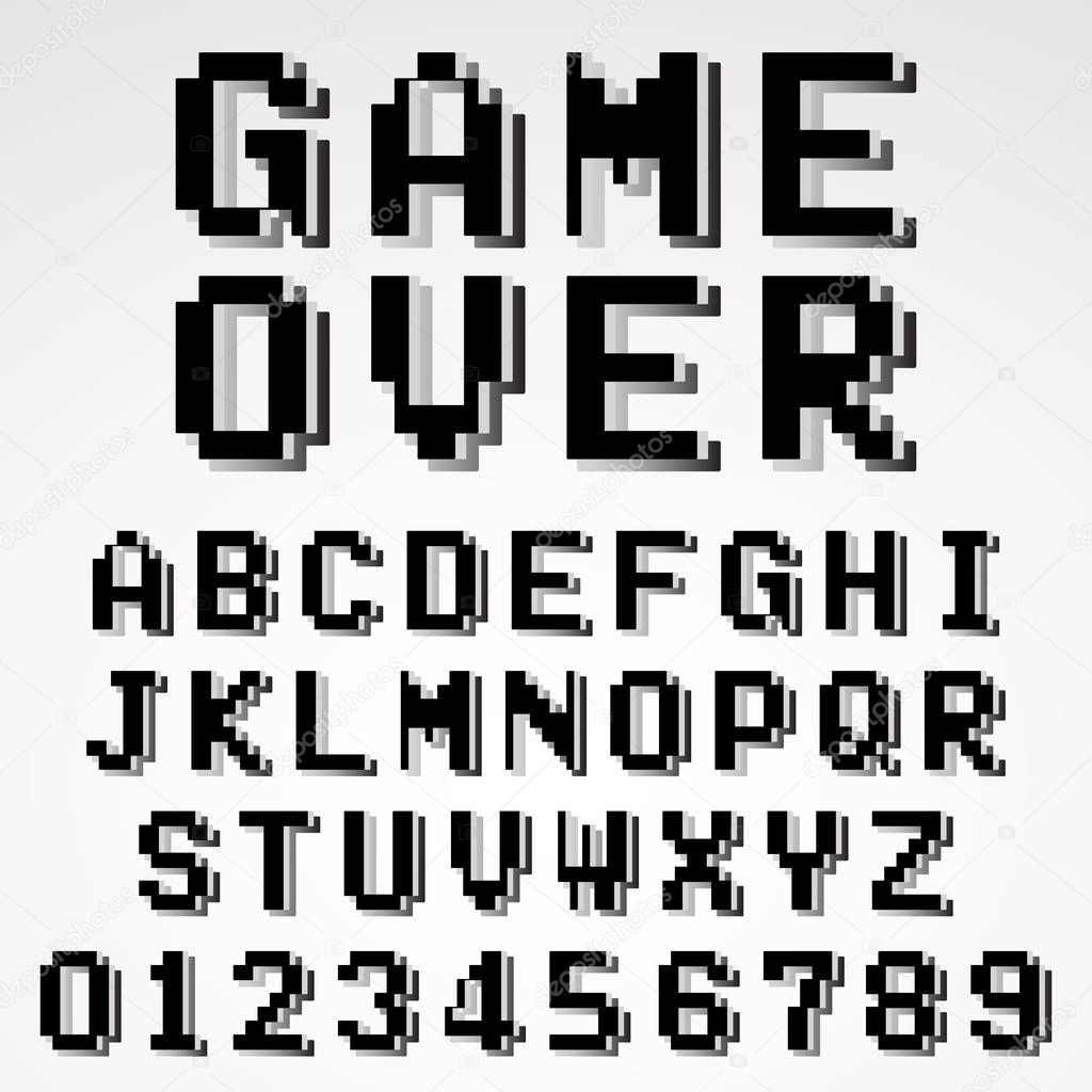 pixel art letters modelo de fonte de alfabeto de videogame antigo pixel 24008 | depositphotos 189323284 stock illustration old pixel video game alphabet