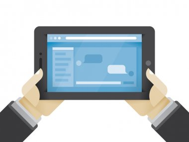 Businessman hands holding tablet computer with social network messages chat on the screen. Idea - Social networking in modern business