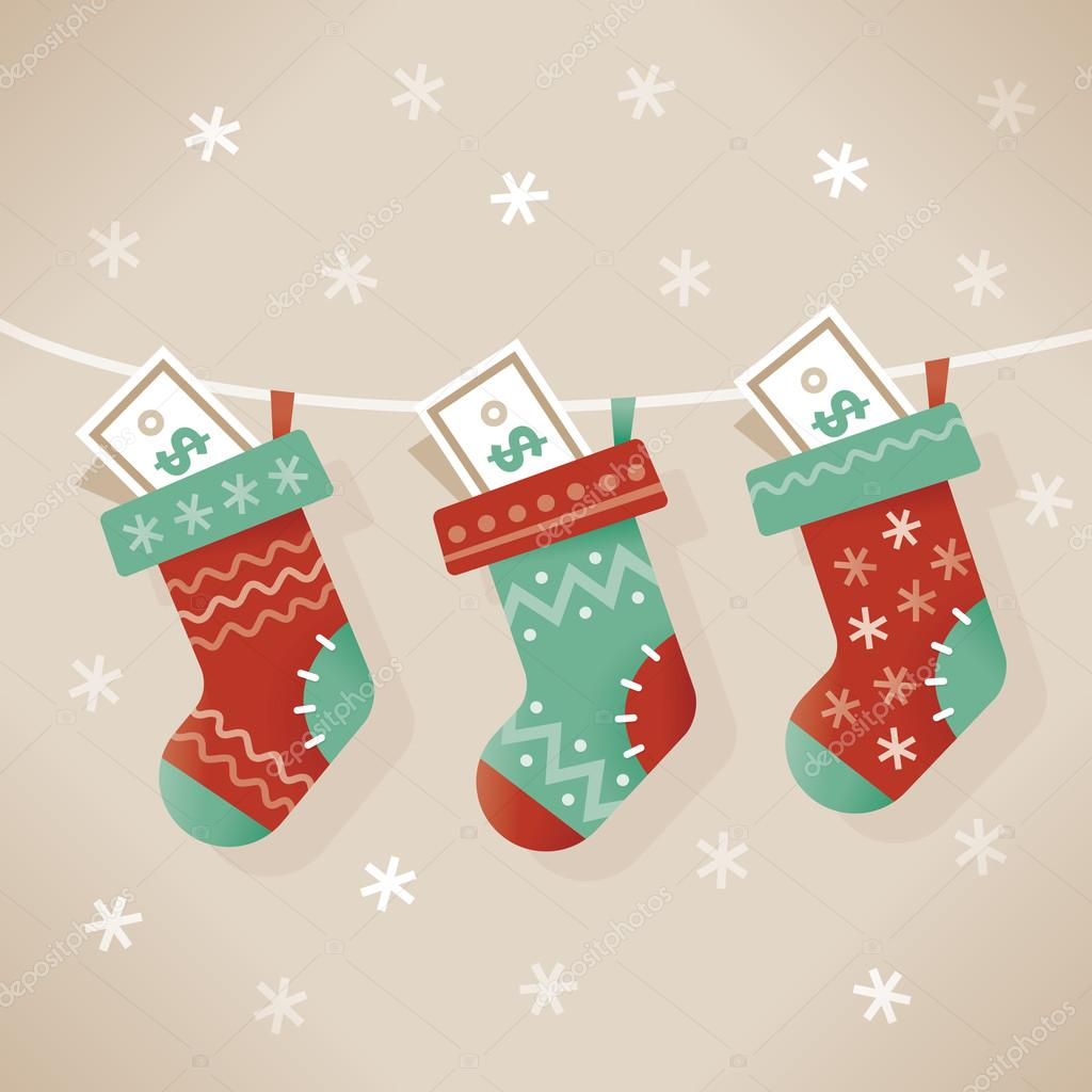 Christmas socks stuffed with money. Idea - New year and new ...