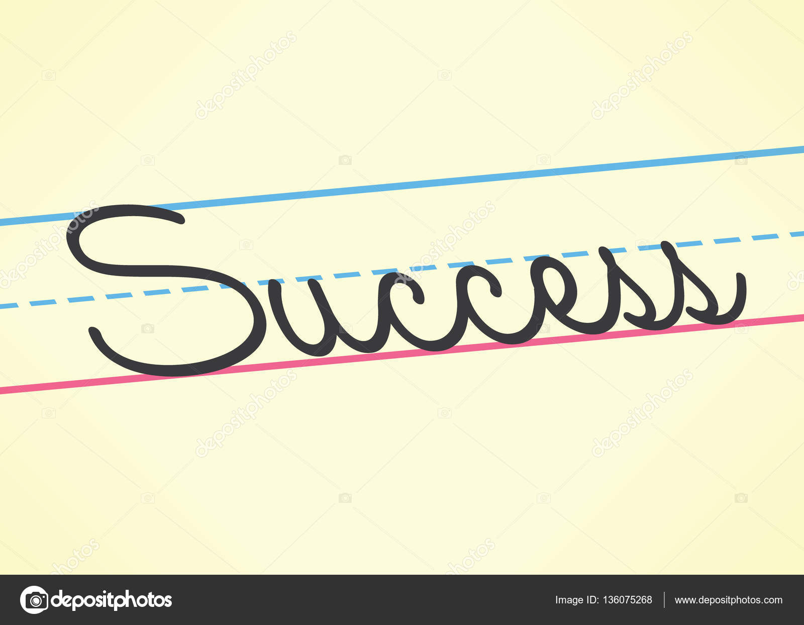 Success cursive word handwritten in children education style