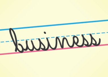 Business cursive word handwritten in children education style. Idea - School of business, management, leadership and success concepts.