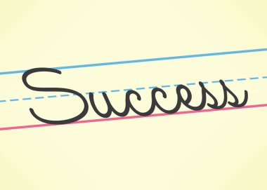 Success cursive word handwritten in children education style. Idea - School of business success, company management learning.
