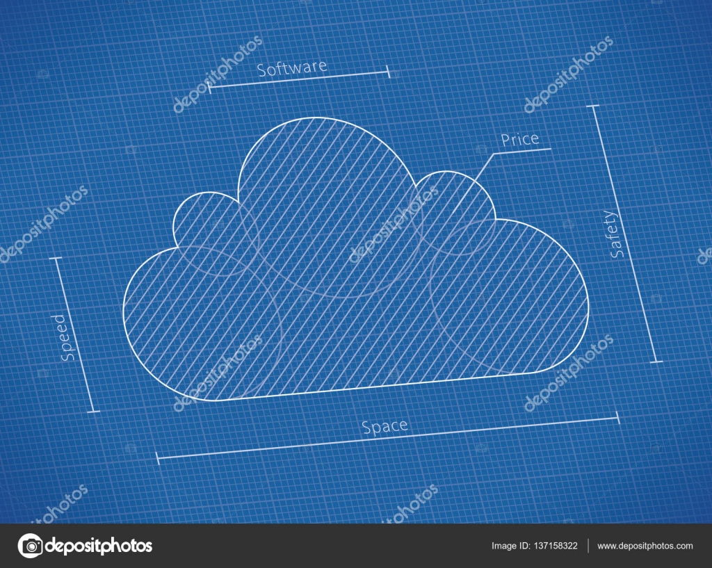 Illustration of abstract blueprint with cloud computing technology illustration of abstract blueprint with cloud computing technology symbol with cloud service qualities speed space software safety and price malvernweather Image collections