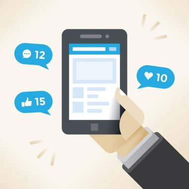 Businessman hand holding mobile phone with social network notifications on screen - new chat messages, new article likes and appreciations. Idea - social networking in modern business negotiations.