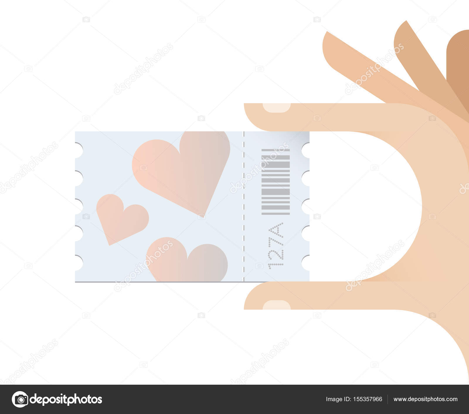 Hand holding love hearts symbols ticket. Concept - Wedding ...