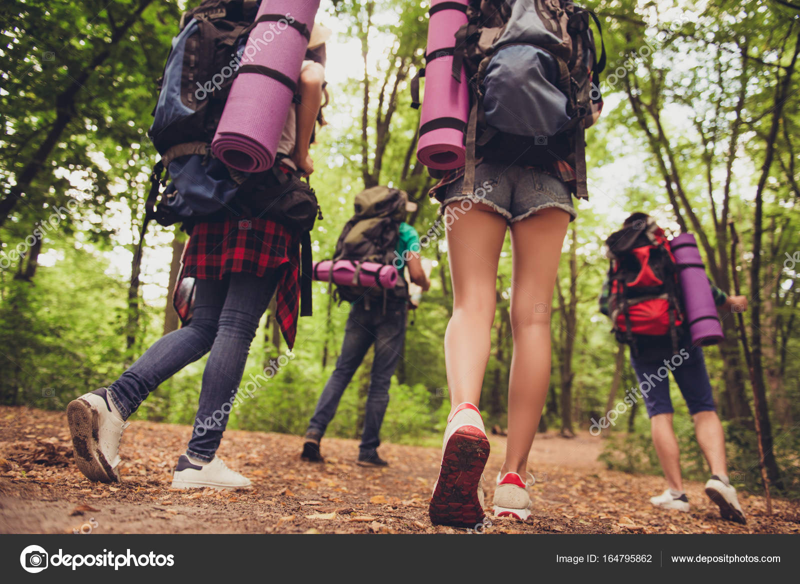 Niedrigen Winkel Rückansicht Der Vier Jugendliche Gemeinsam Wandern