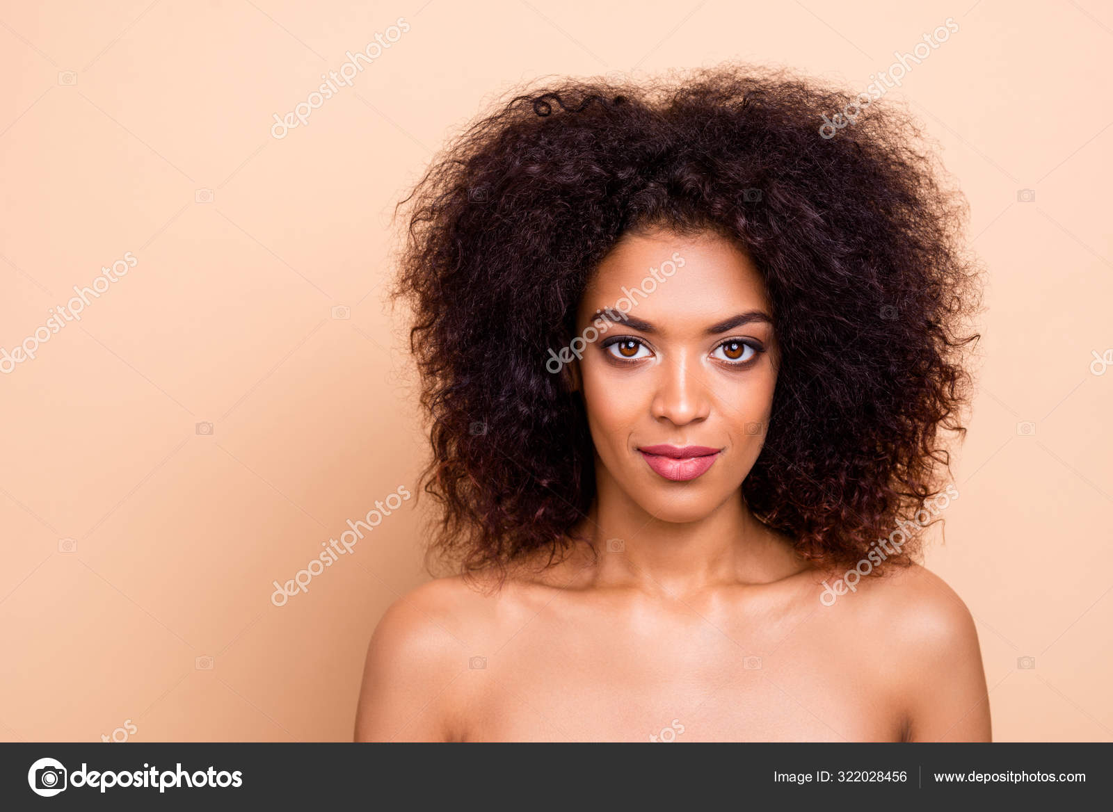 Close Up Photo Beautiful Amazing She Her Dark Skin Lady Confidently Look Camera Self Confident After Salon Spa Procedures Aesthetic Ideal Appearance Wear Nothing Isolated Pastel Beige Background Stock Photo C Deagreez1