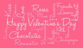 glücklicher Valentinstag Wortwolke auf rosa Hintergrund
