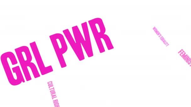 Mrak slova GRL PWR na bílém pozadí. Tento název shluku slov je alternativní pravopisnou mocí.