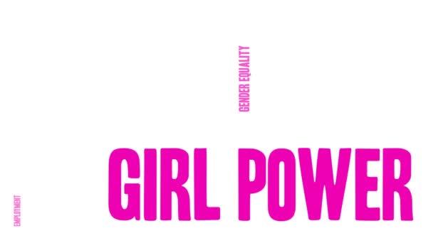 Girl Power animované slovo mrak na bílém pozadí.