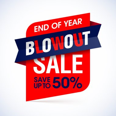 End of year blowout sale banner.