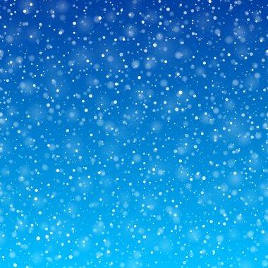Falling snow winter background, horizontally seamless vector illustration. stock vector