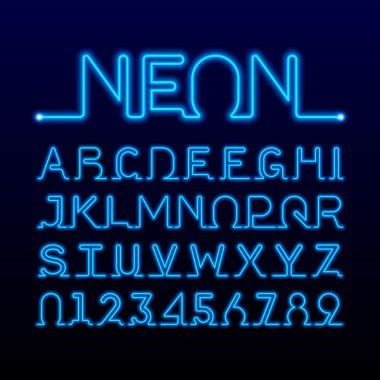 neon line alphabet font