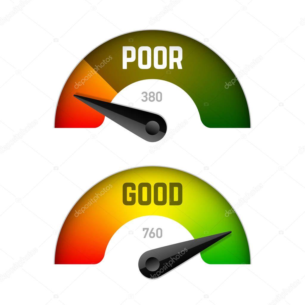 Medidor de puntuación de crédito, plantillas de indicador — Archivo ...