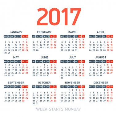 Calendar 2017 template design