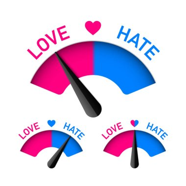 Set  of Love hate meters isolated on white background , vector illustration stock vector