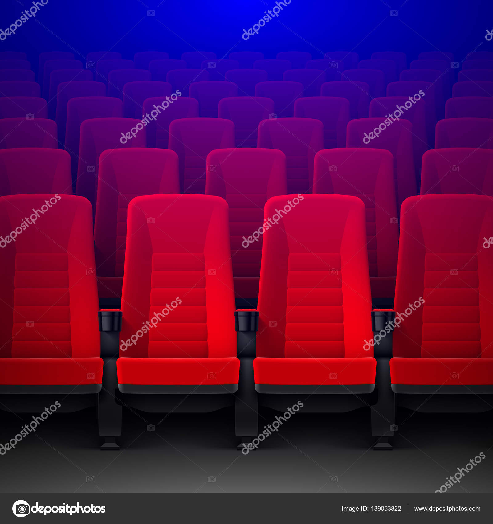 Rows Of Red Cinema Chairs U2014 Stock Vector #139053822