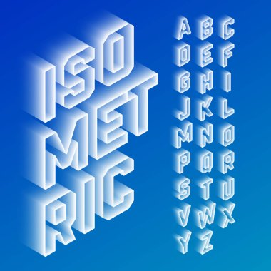 isometric inscription with alphabet