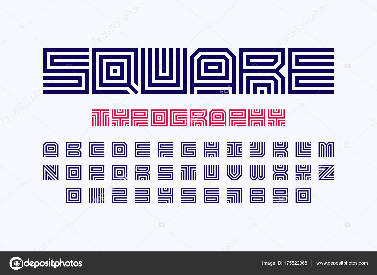 Quadratische Form Briefe Lineare Schrift Stockvektor Alhovik